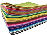 Fogli Feltro Colorato 48 pz Fogli in Feltro e Pannolenci Feltro Acrilico di Fogli DIY Tessuto in Feltro Acrilico Feltro da Cucire 20cm*30cm Fornito con Kit di Fili Colorati