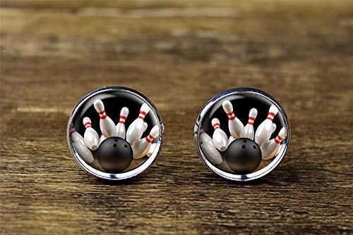 Small Elf Bowling Cufflinks, Sports Cufflinks, Bowling Jewelry Dome Glass Ornaments, Personalized Cuff Links