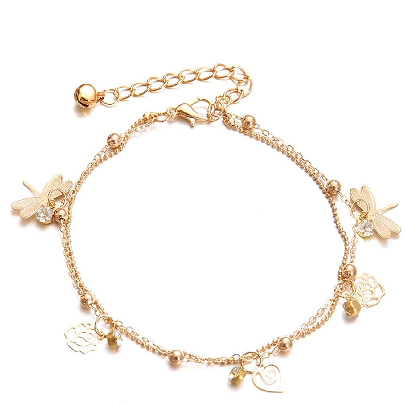 2019 Double Chain Dragonfly Anklet Jewelry Beach Section Anklets Beads Boho Foot Goth Hot sale-in Anklets
