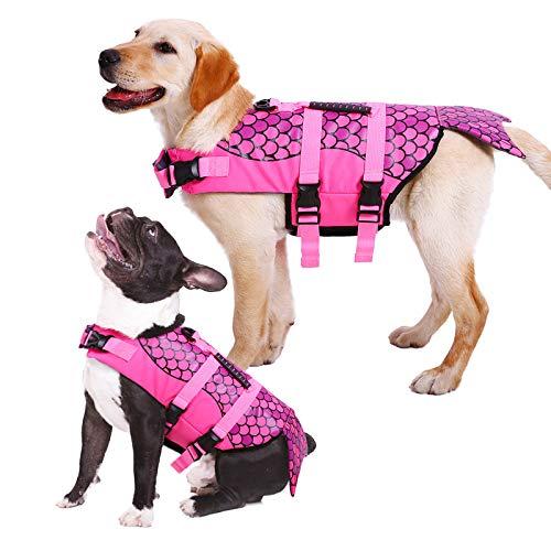Kuoser Hundeschwimmweste, Ripstop-Lebensretter mit überlegenem Auftrieb und Rettungsgriff für kleine/mittel/große Welpen, hohe Sichtbarkeit, Schwimmweste für Strand, Pool, Bootfahren