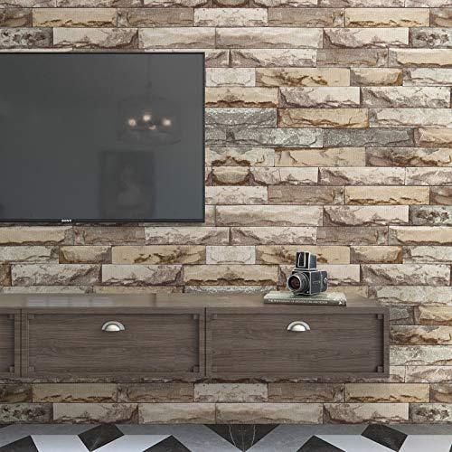 KINLO Adhesivo decorativo para pared de 0,42 mm para azulejos, papel pintado de piedra, autoadhesivo, papel pintado fotográfico 3D, 0,6 x 5 m, papel pintado de ladrillo