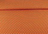 Baumwoll Stoff Daisy mit weißen Sternen auf orange, 100%