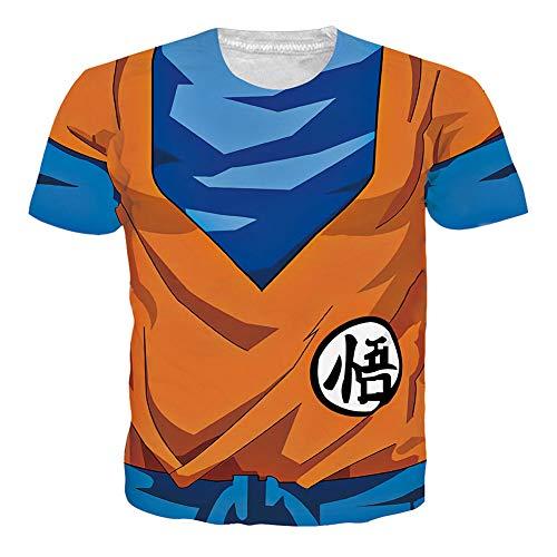 Pemela Boys Girls Anime Tshirt Dragon Ball Z Orange Tee 3D Cartoon Printing Short Sleeve Crew Neck Tops Shirts for Cosplay Party Birthday,L Son Goku