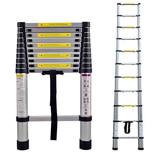 LARS360 3.2M Teleskopleiter Multifunktionsleiter Ausziehleiter Anlegeleiter Mehrzweckleiter Ausziehbare Leiter 11 Stufe Stehleiter aus Hochwertigem Aluminium Belastbarkeit 150KG