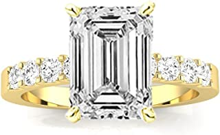 2.2 Ctw 14K White Gold Classic Prong Set Round Emerald Cut GIA Certified Diamond Engagement Ring (1.7 Ct H Color VS1 Clarity Center Stone)