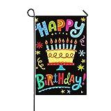 Rossne G sun Happy Birthday Big Cake Garden Flag House Flag Decoration Double Sided Flag 12.5' x 18'