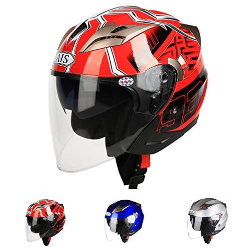 KuaiKeSport Adultos Casco Moto Jet,Casco Patinete Electrico con Gafas de Doble Protección...