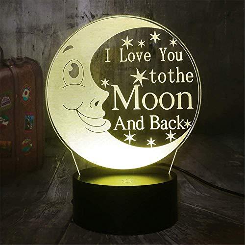 3D I Love You to The Moon and Back Night Light, lámpara de ilusión 3D con control remoto, carga USB LED luz de noche, regalo para niños decoración de dormitorio
