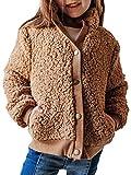Girls Winter Long Sleeve Button Sherpa Jacket Coat Pockets Childs Warm Fleece