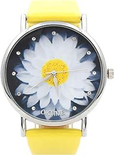 Reloj de Movimiento Análogo Minimalista de Piel Sintética para Mujer – Amarillo