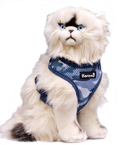 Beroni Katzengeschirr Brustgeschirr Katze VERSTELLBAR Softgeschirr blau Camouflage Tarnmuster Geschirr für Katzen gepolstert weich 2 Größen (S: Hals 25cm - 30cm, Brust 30cm - 43cm)