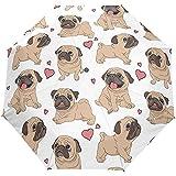 Cute Dog Puppy Animal Brown White Auto Open Umbrella Sun Rain Umbrella Anti UV Folding Compact Automatic Umbrella