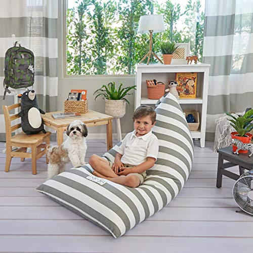 Butterfly Craze Grey Striped Stuffed Animal Storage Bag & Bean Bag Chair Cover - Toy Organizer & Floor Lounger in One with Extra Large Capacity & Premium Cotton Canvas