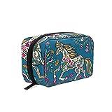 Bolsa de maquillaje de viaje con cremallera, diseño de burro de flores para mujeres y niñas, con múltiples funciones