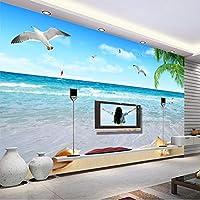 カスタマイズされた任意のサイズのココナッツカモメ海景写真壁画壁布リビングルームテレビソファ家の装飾された防水壁紙-350X250CM