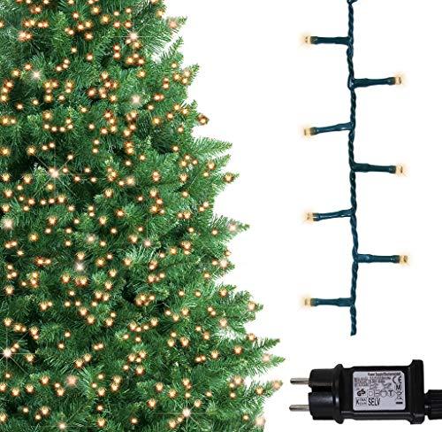 Baum helle Lichter 1000 LED warme weiße Baum-Lichter Weihnachtsschnur-Lichter Gedächtnis und Timerfunktionen, Netzbetriebene feenhafte Lichter 25m Lit-Länge mit 10m Verbindungsdraht GRÜNES KABEL
