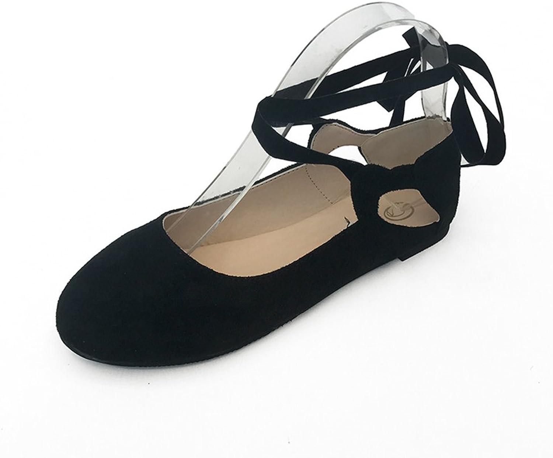 T-JULY Women's Ballet Flats Retro Slip on Round Toe Classic Straps shoes