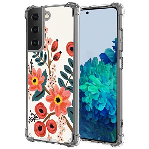 UZEUZA Funda para Samsung Galaxy S21 Plus Transparente Bumper Cover Anti-Arañazos Transparente Bordes Con Amapola Flor