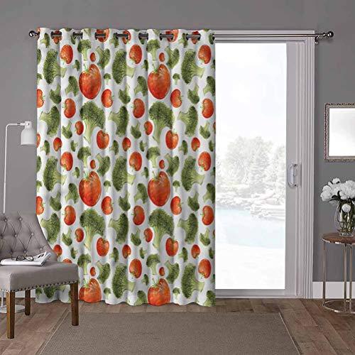 YUAZHOQI - Cortina divisora de habitación, verduras, brócoli con tomate, 100 x 96 pulgadas, cortinas opacas para sótano (1 panel)