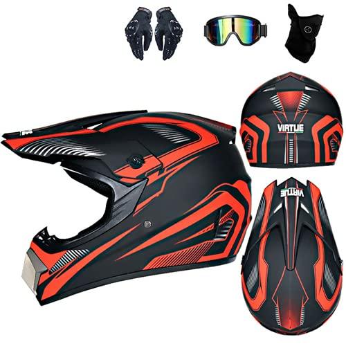 Casco de motocross Off Road con Goggles, estándar de seguridad DOT, casco de moto para hombre y mujer, casco de motocross negro, carcasa ABS (A2, M (57-58 cm)