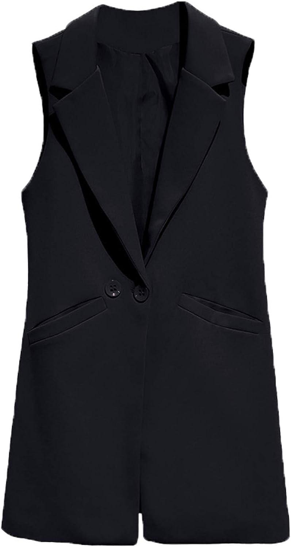 Blazer Casual Solid Vest Waistcoat Women Lapel Long Suit Vest Female Jacket Coat Pockets Office Work
