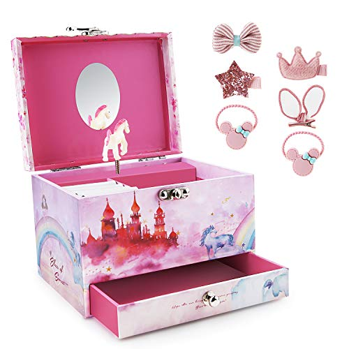 Girl's Musical Jewelry Storage Box with Spinning Horse