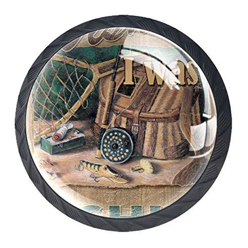 Decorativo Rústico Deporte Pesca Divertido Vintage 4PCS Pomo de armario, tirador para cajón, Pomos y Tiradores de Muebles,Pomos, pomos, para Puertas, Armarios de Cocina,Cajones - un solo agujero