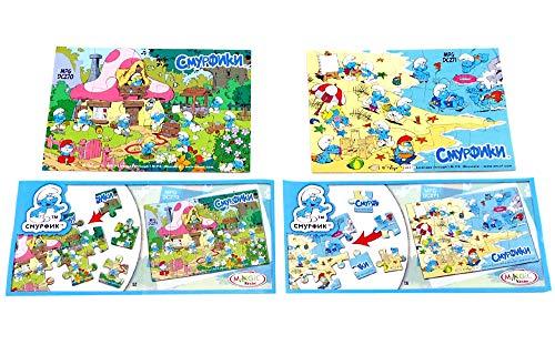 Kinder Überraschung Zwei Puzzle der Schlümpfe aus Spielzeugsatz mit BPZ (Ausland)