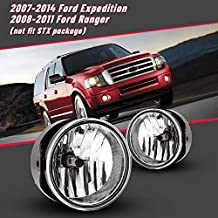 Fog Lights for 2008-2011 Ford Ranger (not fit STX package)/ 2007-2014 Expedition with Bulbs H10 12V 42W AUTOFREE OE Driving Lamps Replacement for Pickup-1 Pair(Clear Lens)