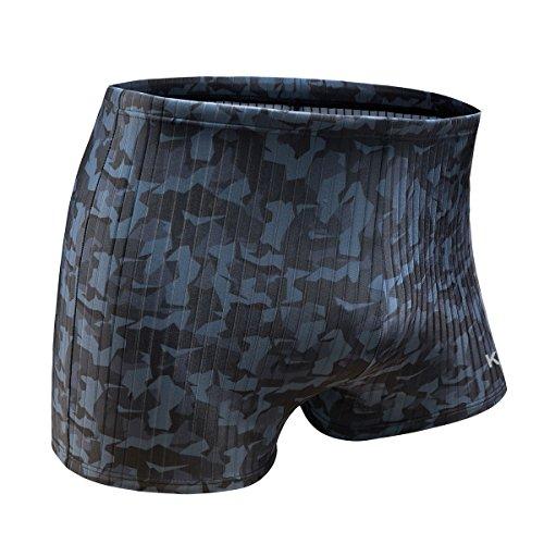 KGKE Swim Boxer Briefs Short Swim Jammer Camo Racer Mens Square Leg Swimsuit (Grey camo Strip, XXL)