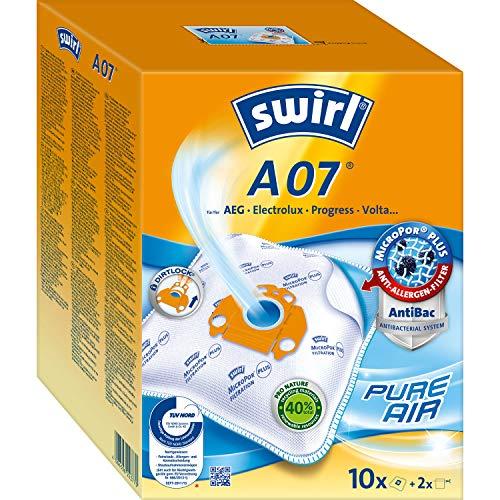 Swirl A07 MicroPor Plus Staubsaugerbeutel für AEG, Electrolux, Progress und Volta Staubsauger 10er Pack, 10 Stück + 2 Filter