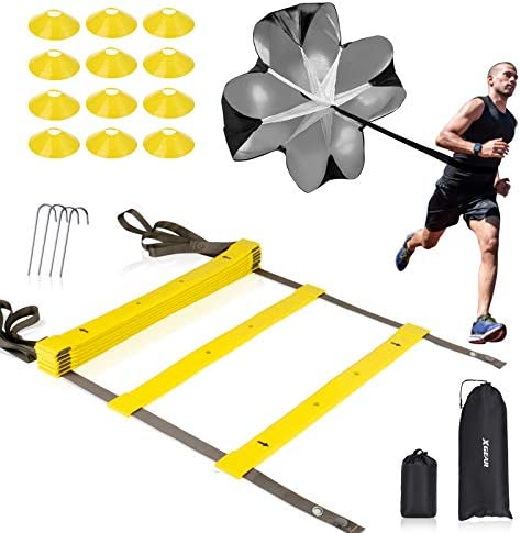 XGEAR Speed Agility Training Set Indoor Outdoor TPE Adjustable Rungs Agility Ladder Resistance product image