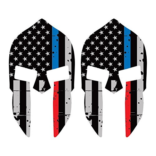 KW Vinyl Two Pack Distressed Red/Blue Line Subdued Spartan Helmet American Flag Sticker Law Fire Made in USA