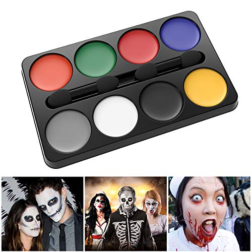 Unomor Halloween Schminke Makeup Kit fur Zombie Vampir Clown Hexe Make Up Party Kosmetik - 8 Farben