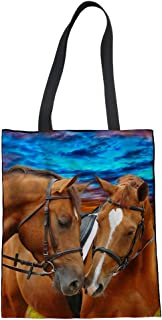 Showudesigns Horse Casual Beach Handbag Girls Satchel Women Canvas Tote Vegetable Grocery Bag