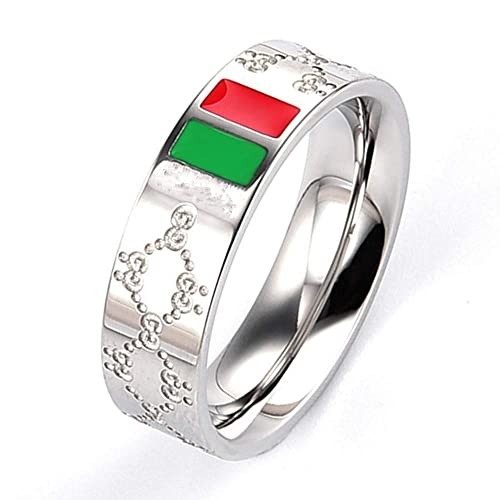b7189780c Dream Fashion Luxury Shine Celebrity Ring Classic Red and Green Bar  Titanium Steel Ring
