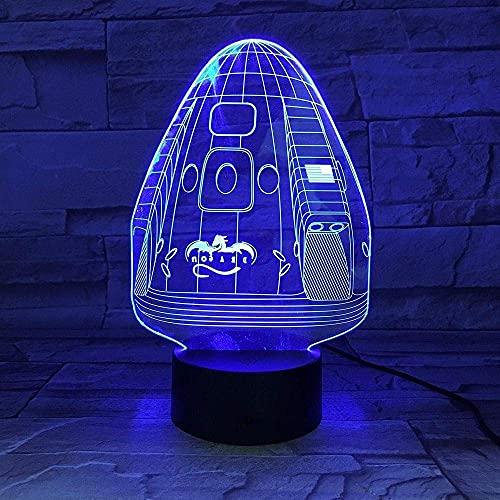 Space X Dragon nave espacial astronomía 3D light touch amantes sensor luz nocturna luz LED 7 colores decoración de la habitación