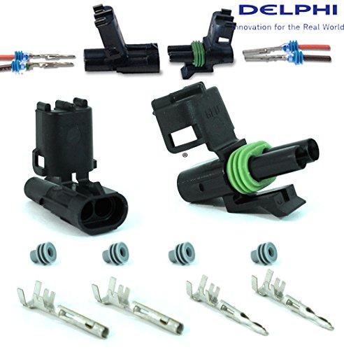 Delphi Packard (2 Circuits) Weatherpack, Waterproof, Terminal Kit 14, 16 AWG