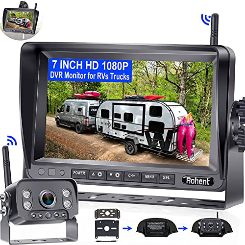 Wireless Backup Camera for RV HD 1080P with 7 Inch DVR Monitor High-Speed Rear View Observation...