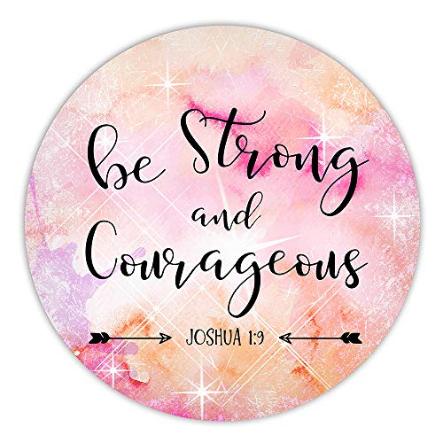 AGMdesign Be Strong and Courageous Round Mouse Pad, Christian Quotes, Inspirational Quote, Desk Accessories, Office Decor, Non-Slip, Stitched Edges, Waterproof, 7.87 x 7.87 x 0.12 Inch