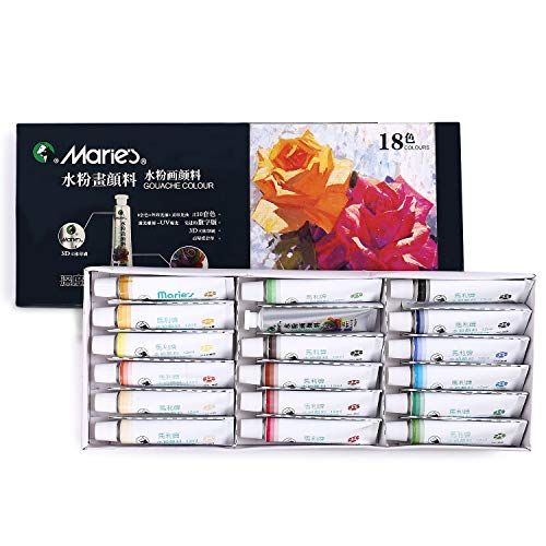 MEGREZ Marie's Extra Fine Gouache 18 Assorted Colors/Set Opaque Watercolor Paint Set for Students, Beginners and Painting Lovers, 12 ml/Tube