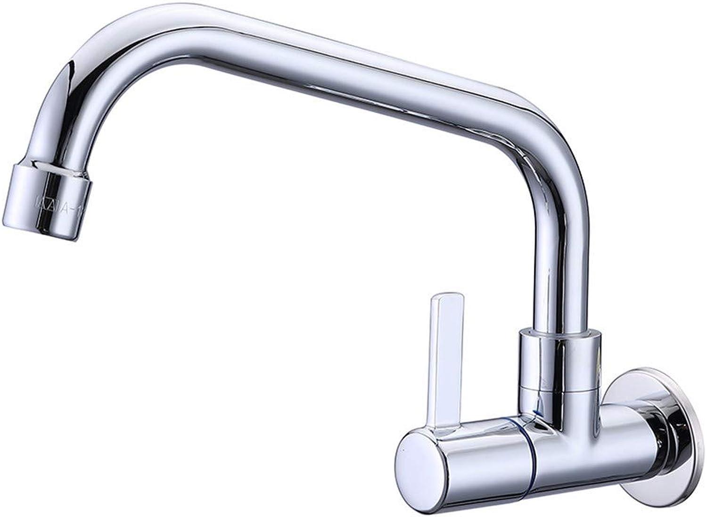 LIANTIAN Copper Double Hole Single Handle Single Cold Faucet in-Wall Ceramic Valve core Kitchen Bathroom Faucet Bathroom Sink Taps