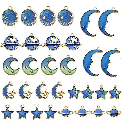 EBANKU 32p Assorted Gold Plated Enamel Pendants, Moon Star Sky Earth Branch Cat Celestial Charm Pendant DIY Earrings Necklace Bracelet Making (Mixed 8 Colors)