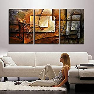 DIU Hand Painted Modern Abstract Oil Painting Wall Art Canvas Set 3 Panel Realistic Home Decoration Picture For Kitchen Li...