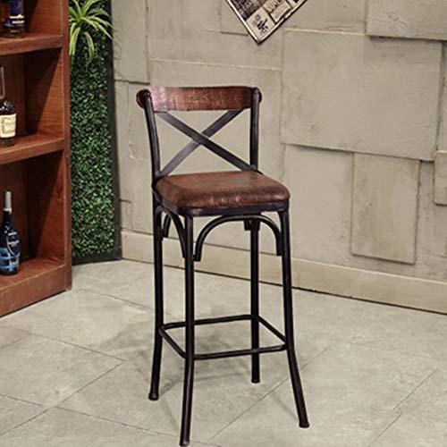 QinWenYan Barhocker Schmiedeeisen Massivholz Barhocker Milk Tea Shop Hochstuhl Küchentheke Hocker Dining Chair für die Küche (Farbe : Upholstered, Size : 44x44x105cm)