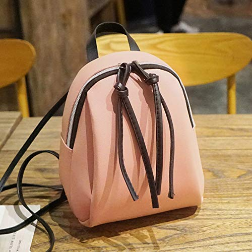 REBKW New Women's Backpack PU Leather Travel Shoulder Bag Shoulder Bag Girl Multifunctional Small School Backpack Women Black(pink,China)