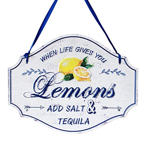 Funly mee Distressed Metal Tin Lemon Sign