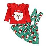 NEWLL Ensemble de vêtements pour bébé fille avec bretelles et jupe et bandeau pour Noël