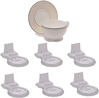 HOHIYA Tea Cup and Saucer Display Stand Holder China Teacup Rack Easel (Clear,pack of 6)