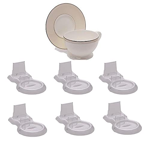 HOHIYA Tea Cup Teacups and Saucer Display Easel Stand Holder Coffee (Clear,pack of